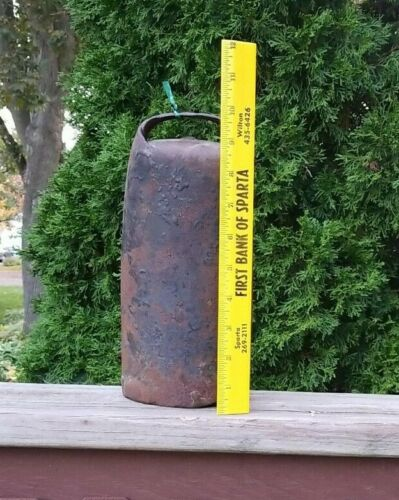 """Large 9 1/2"""" Tall Primitive Handcrafted Cowbell Great Patina Country Farm Decor"""