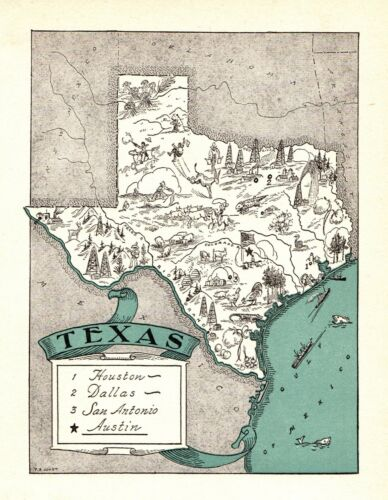 1930s Antique Animated TEXAS State Map RARE Picture Map of Texas BLU 7141