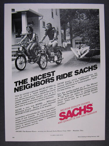 1980 Sachs Moped couple riding photo vintage print Ad