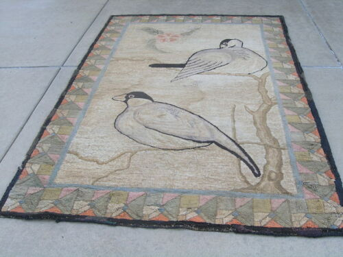 """19th C Large American Pictorial Hooked Rug on Burlap Doves Tree Branches 70x106"""""""