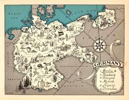 1932 Antique Animated GERMANY Map RARE Cartoon Picture Map of Germany BLU 7255