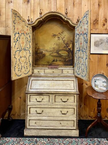 Antique Vintage Italian Florentine Painted and Parcel Gilt Secretary Desk