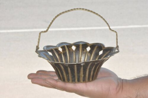 Old Brass Handcrafted Unique Shape & Design Flower Basket,Collectible