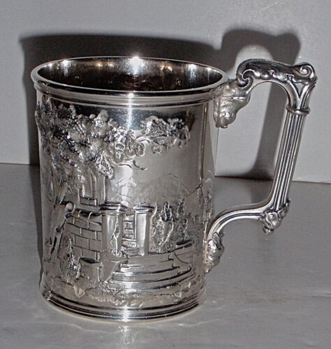 Rare Early Gorham Co. Scenic Repousse Coin Silver Christening Cup-  Oct.10, 1857