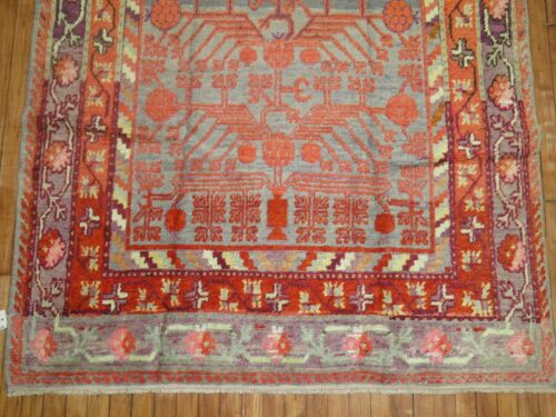 Antique Pomegranate East Turkestan Khotan Rug Size 5'x9'5''