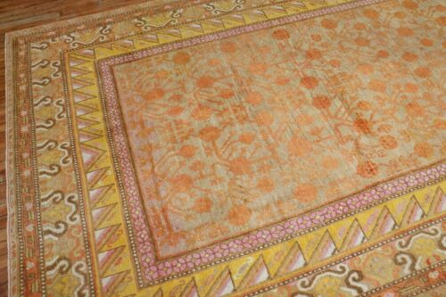 Antique Pomegranate East Turkestan Khotan Rug Size 7'x13'2''