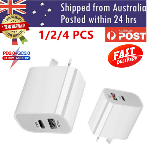 AU Plug PD 18W USB-C Type C Fast Wall Charger Adapter For iPhone 12 11 Android