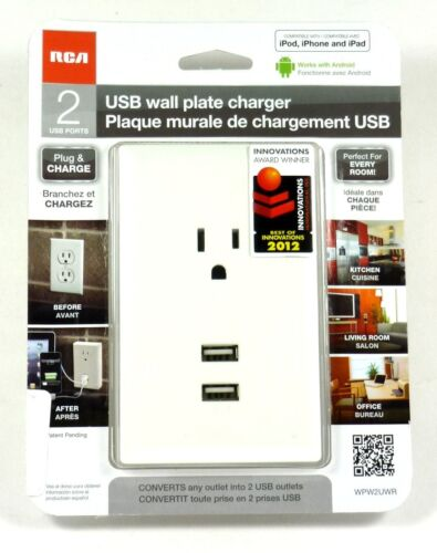 WP2UWR RCA Wall Plate Outlet with 2 USB (White) Charging Port for iphone/ipad