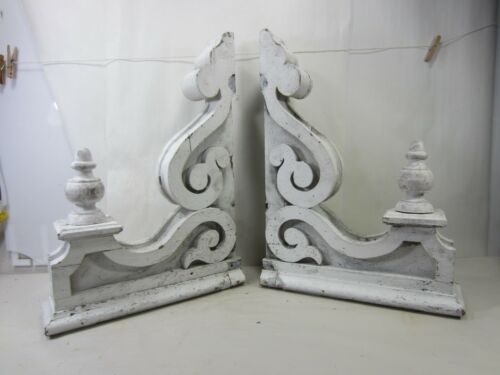 2 Antique Large White Architectural Salvage House Corbels