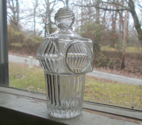 1820s OPEN PONTIL EARLY GLASS BIRD FEEDER RIBBED HALF POST BLOWN APPLIED KNOB