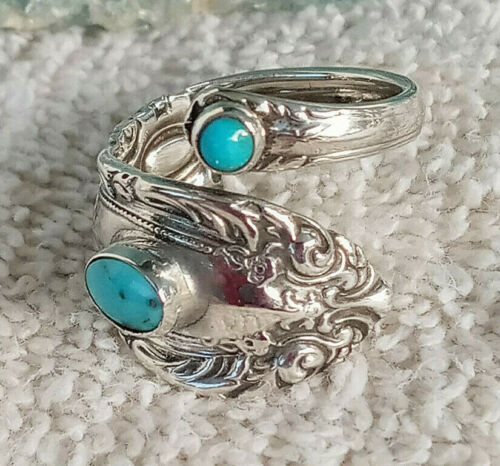 Stones Perfect Vintage Turquoise King Richard Towle Sterling Silver Spoon Ring