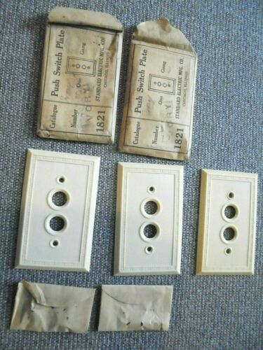 3 Antique / Vintage Ivory Plastic Single Push Button Light Switch Plate Covers