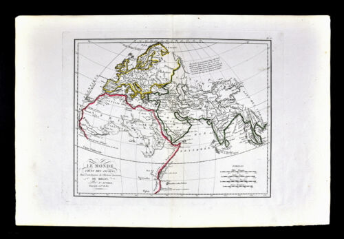1818 D'Anville Ancient World Map Known to the Ancients Europe Africa Asia India