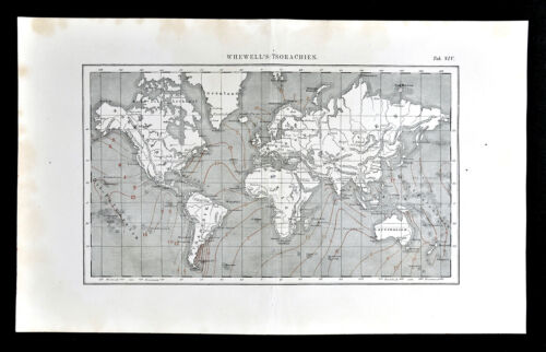 1872 Muller World Weather Map Whewell's Isorachian or Co-Tidal Lines Surf Tides