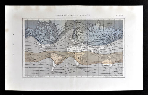 1872 Muller World Map Isothermal Lines January Temperatures Climate Change