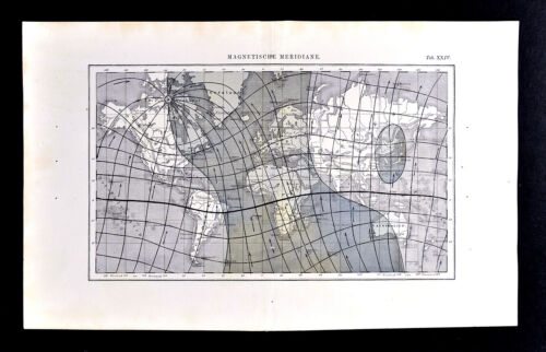 1872 Muller World Map Magnetic Meridian Lines Connecting the North & South Pole
