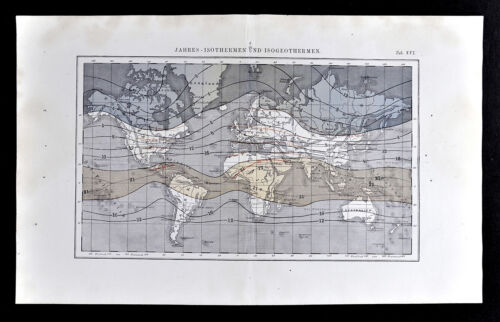 1872 Muller World Map Annual Isotherms & Geothermal Lines Climate Temperature