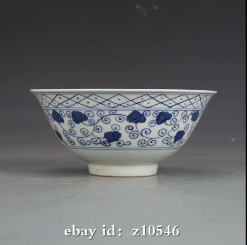"""5.8"""" China antique porcelain Ming Chenghua Blue and White Seaweed Pattern Bowl"""