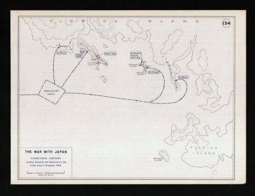West Point WWII Map War with Japan Battle of Guadalcanal Tulagi Landing Area