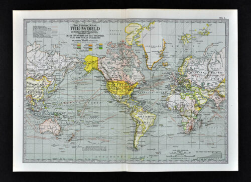 1902 Century Map - World Map Mercator - Ocean Currents Colonies Travel Routes