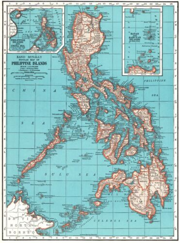 1949 Antique PHILIPPINES Map Vintage Map of the Philippine Islands Map 8472