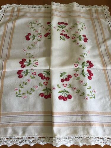 Lovely Hand Embroidered Vintage Tablecloth - Cherries & Blossoms - Lace Edging