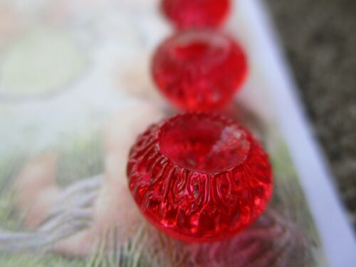 """Set of 6~Vintage 7/16"""" Red  Crystal Acorn top Glass Buttons~New/old stock"""
