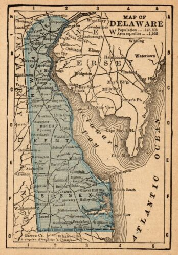 1888 Rare Antique DELAWARE State Map MINIATURE Vintage Map of Delaware 8590