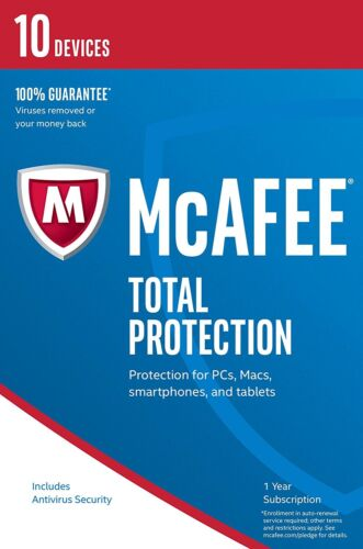 McAfee Total Protection 2019/2020 10 User/PC Internet Security Windows 10 NEW