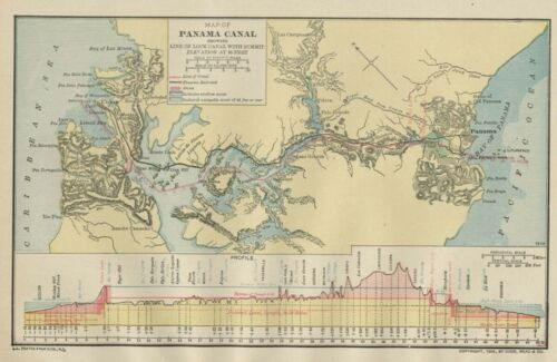 Panama Canal Mid-Construction! 1906 Authentic (Dated) Cities Locks Ports Rails
