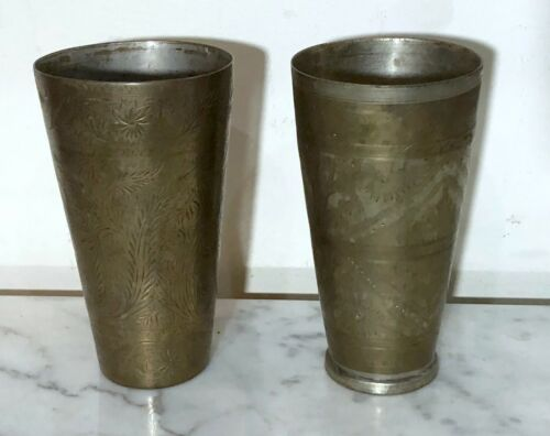 ANTIQUE PAIR OF BRASS LASSI GLASSES WITH FLOWERS & LEAVES - FROM PAKISTAN