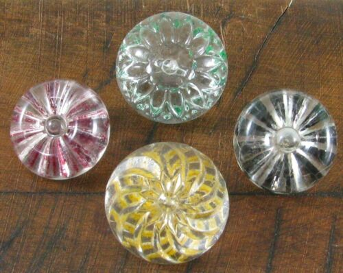 4 Antique Molded Clear Glass Buttons w/ Reverse Painted Designs