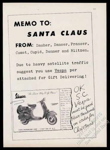 1958 Vespa scooter moped photo Christmas vintage print ad