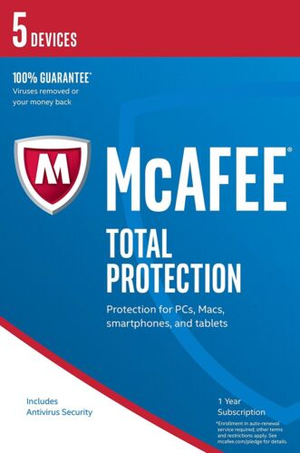 McAfee Total Protection 2020 5 Users/PC Internet Security Windows 10 & Mac NEW