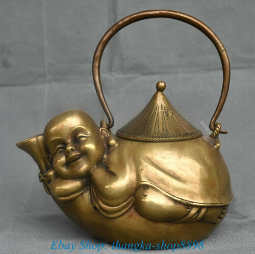 "8"" Old Xuande Marked China Copper Maitreya Buddha Portable Teakettle Teapot Pot"