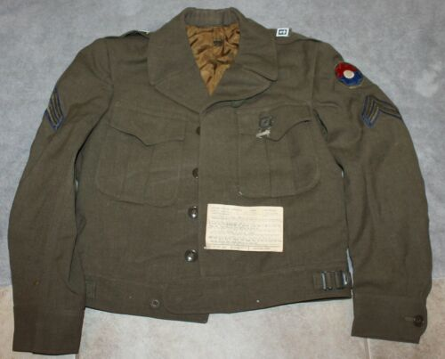 KOREAN WAR IKE JACKET 364TH INFANTRY W/PATCHES/INSIGNIA/RIFLE MEDAL NAMED VETOriginal Period Items - 586