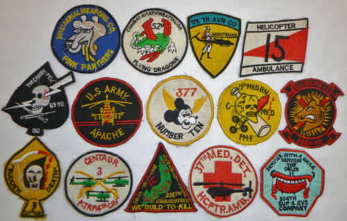 LOT x 14 Patch - US HELICOPTER ATTACK - DUSTOFF MEDEVAC - AHC - Vietnam War, X11Patches - 104015