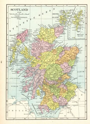 1931 Antique Scotland Map Vintage Map of Scotland Gallery Wall Art 8660