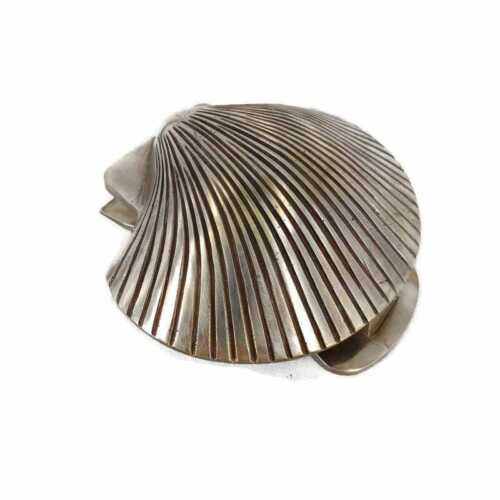 "SCALLOP shell heavy Brass Door Knocker 6"" vintage old style antique SILVER B"
