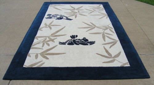 Vintage Thick Mid Century Cabin Crafts Custom Crafted Shibui Area Rug 6.5x9.5 ft