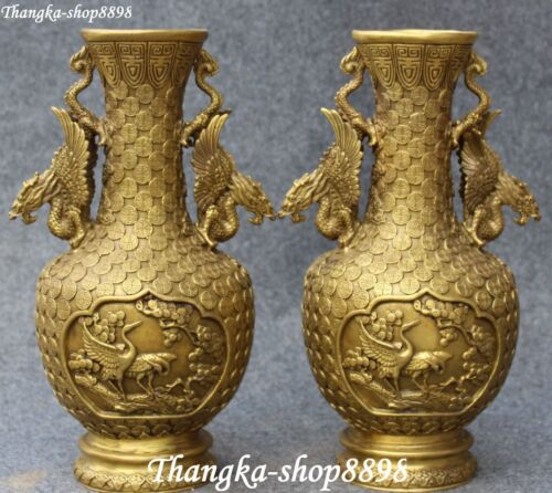 China Bronze Dragon Dragons Grus Japonensis Flower Vase Bottle Vases Statue Pair