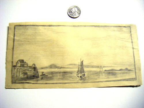 1880's children's drawing of Hudson river view VeryNice