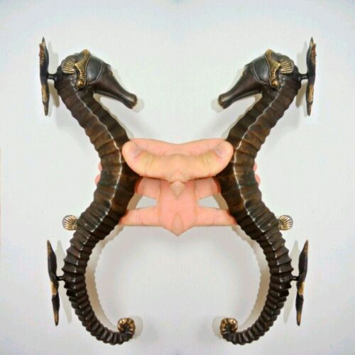 """2 large aged SEAHORSE solid brass door old style 13"""" PULL handle bronze patina B"""
