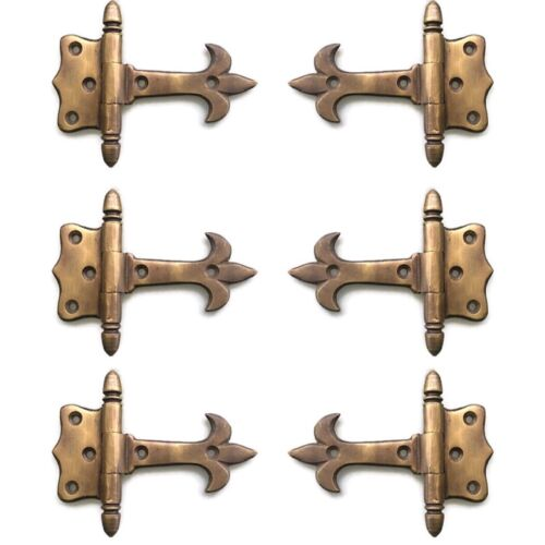 """6 solid Brass DOOR small hinges vintage age antique style restoration heavy 3"""" B"""
