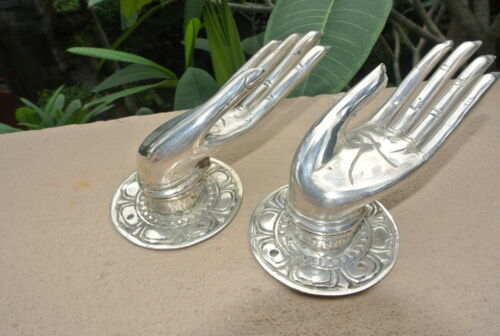2 small BUDDHA Pull handle open hand brass silver door old style knob hook 6cm B