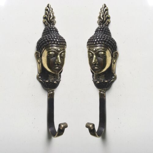 """2 BUDDHA dewi HOOK 7 """" long aged solid real heavy BRASS old vintage style B"""