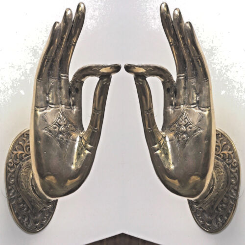 2 BUDDHA DOOR handle solid polished brass old style HAND fingers 20cm L & R B