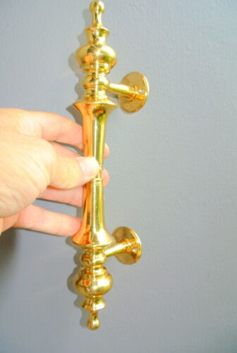 """large 30cm DOOR handle pull solid 2 SPUN polished brass old style hollow 12 """"B"""