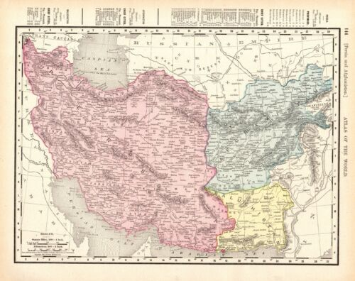 1900 Antique AFGHANISTAN & PERSIA Map Vintage Map of Iran Pakistan 8707