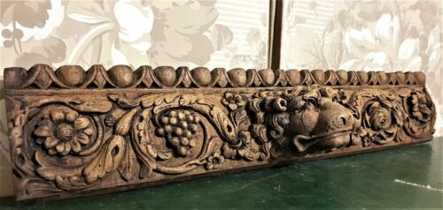 17th lion scroll leaf wood carving pediment Antique french architectural salvage